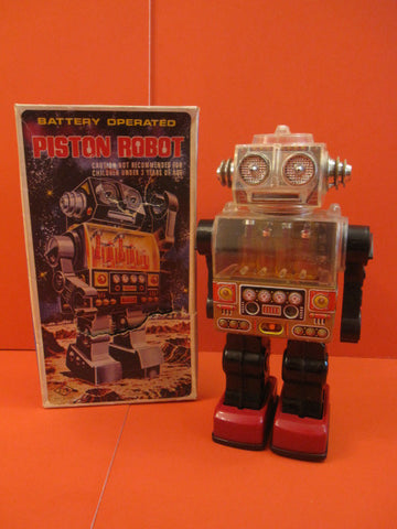 SJM PISTON SEE THRU Robot + Box Taiwan 1970