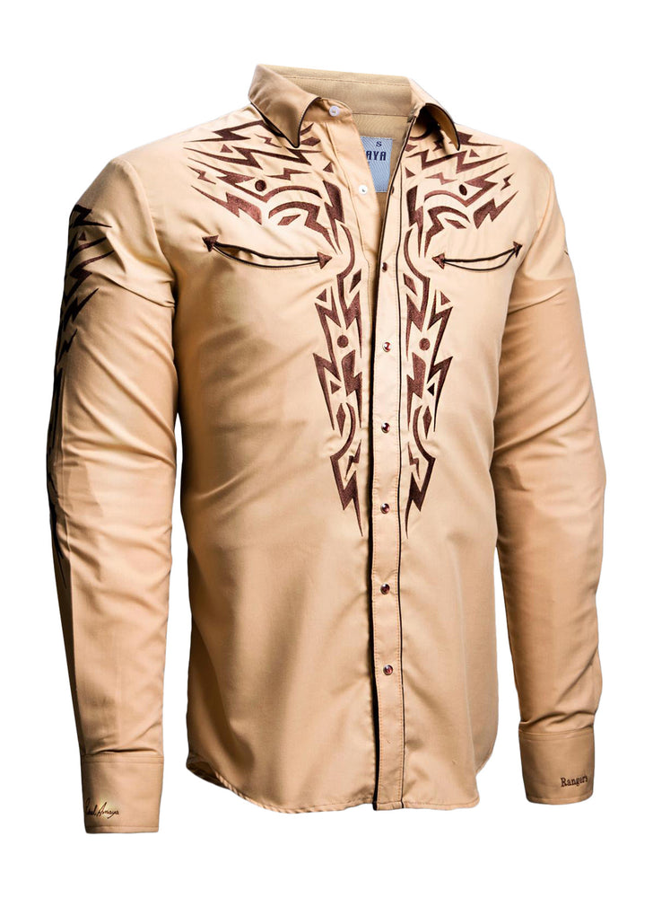Rafael Amaya Long Sleeve Western Shirt In Yellow - 081CA01