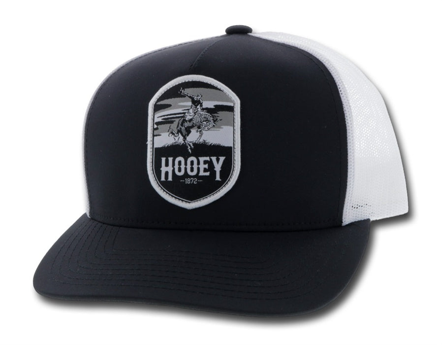 """Cheyenne"" Hooey Black / White 5-Panel Trucker with Black / White Patch - OSFA 2044T-BKWH"