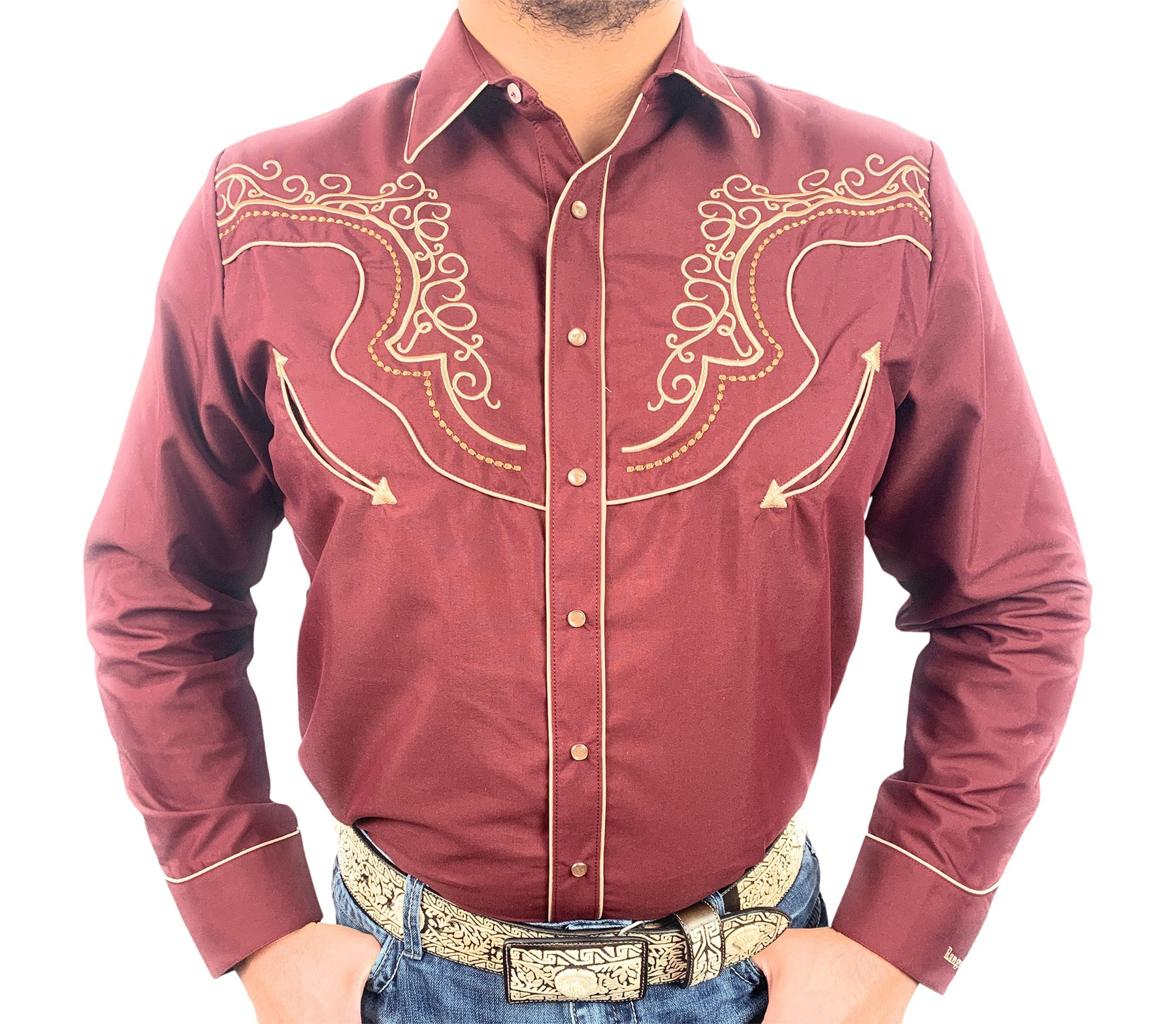 Ranger's Men's Western Shirt With Luxury Embroidery In Burgundy - 012CA01