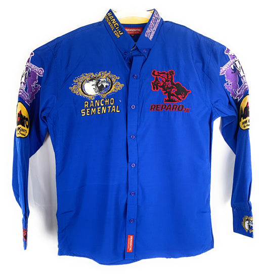 Rancho Semental Reparo Style  Long Sleeve Blue Button Down Shirt