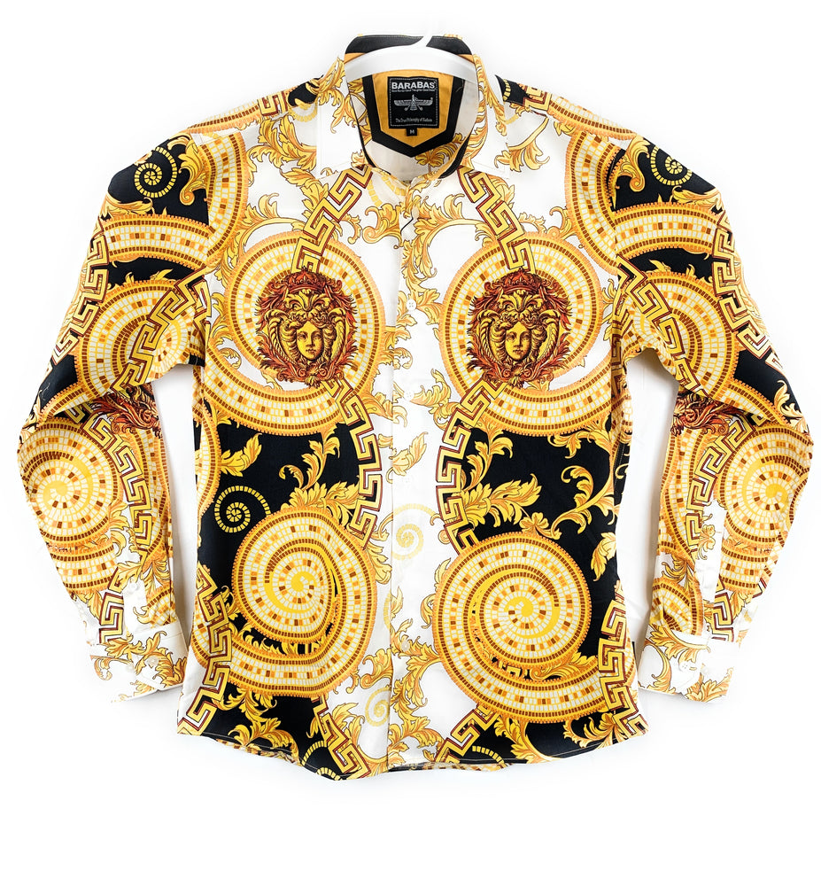 Barabas Men's Gold Long Sleeve Casual Button Up Shirt