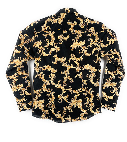 Barabas Men's Gold Leaf Long Sleeve Casual Button Up Black Shirt