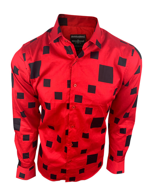 Barabas Mens Designer Button Up Shirt Red & Black Square Long Sleeve