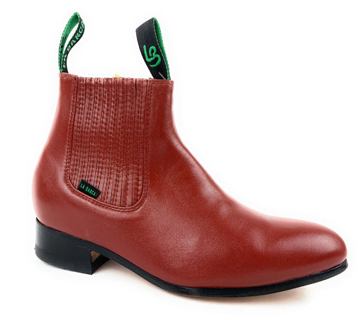 La Barca Men's Ladrillo Red Leather Botin Charro