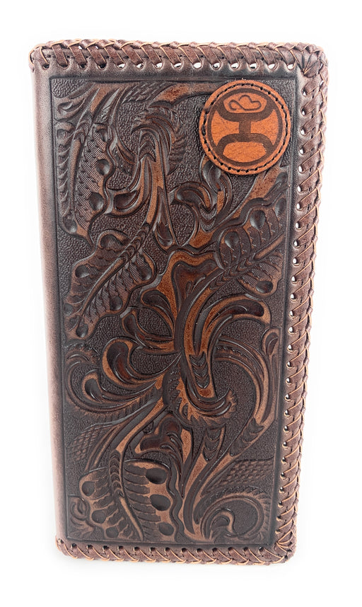 HOOey Brown Wallet - Check Book With Floral Tooling & Stitched Edges