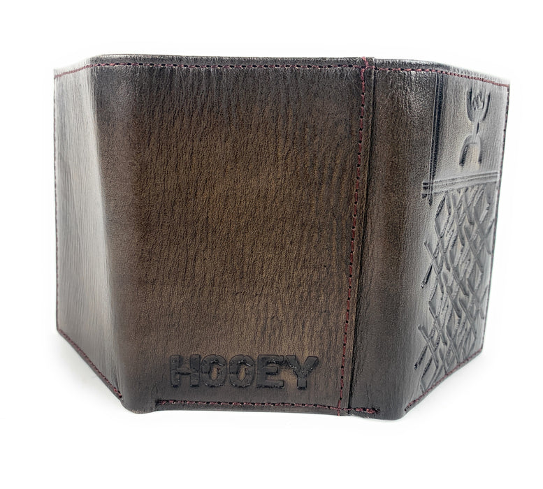 Hooey Brown Tri-Fold Wallet Crosshatch Pattern