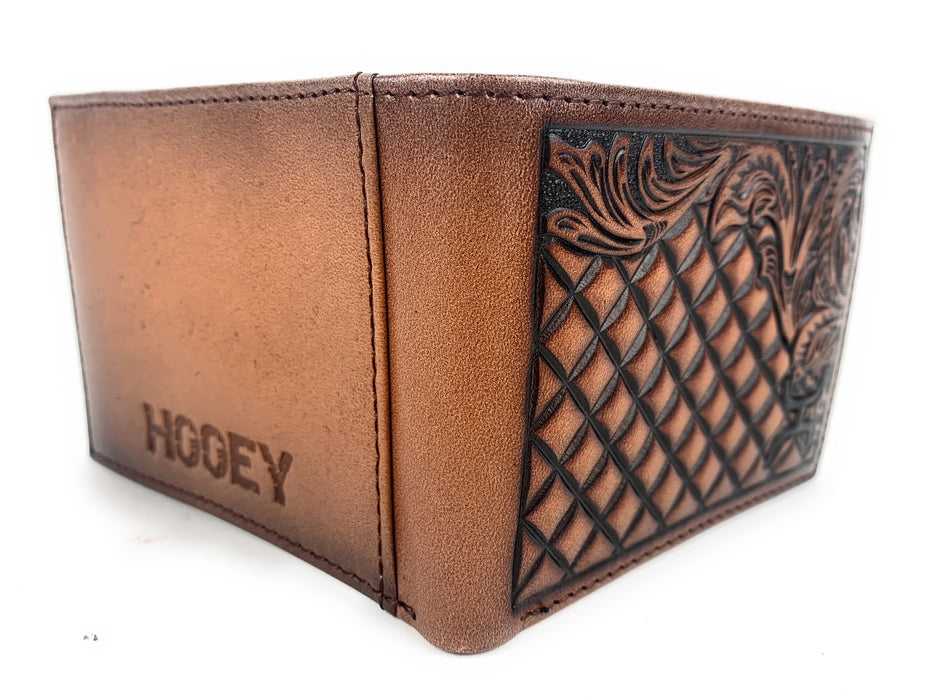 Hooey Men's Signature Diamond Tooled Floral Border Brown Leather Bifold Wallet