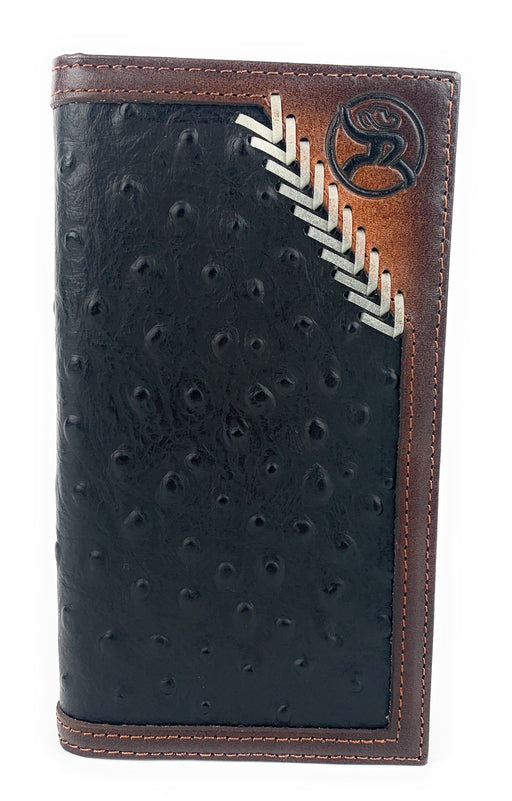 Hooey Mens Western Rodeo Wallet Roughy Logo Black Ostrich Leather Laced