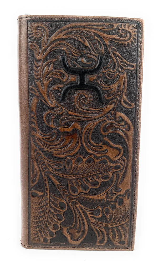 Hooey Mens Tooled Walnut Rodeo Leather Wallet