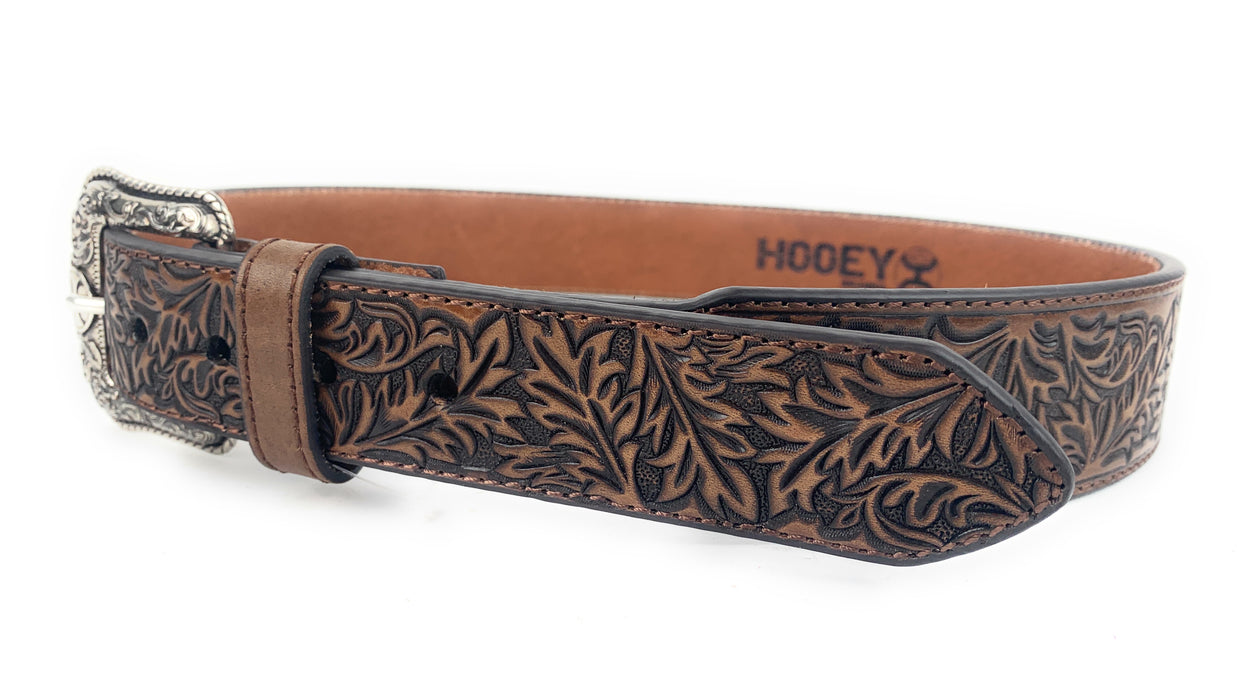 HOOEY Roughy Tapered Tooled Floral Pattern Leather Belt 1873BE9