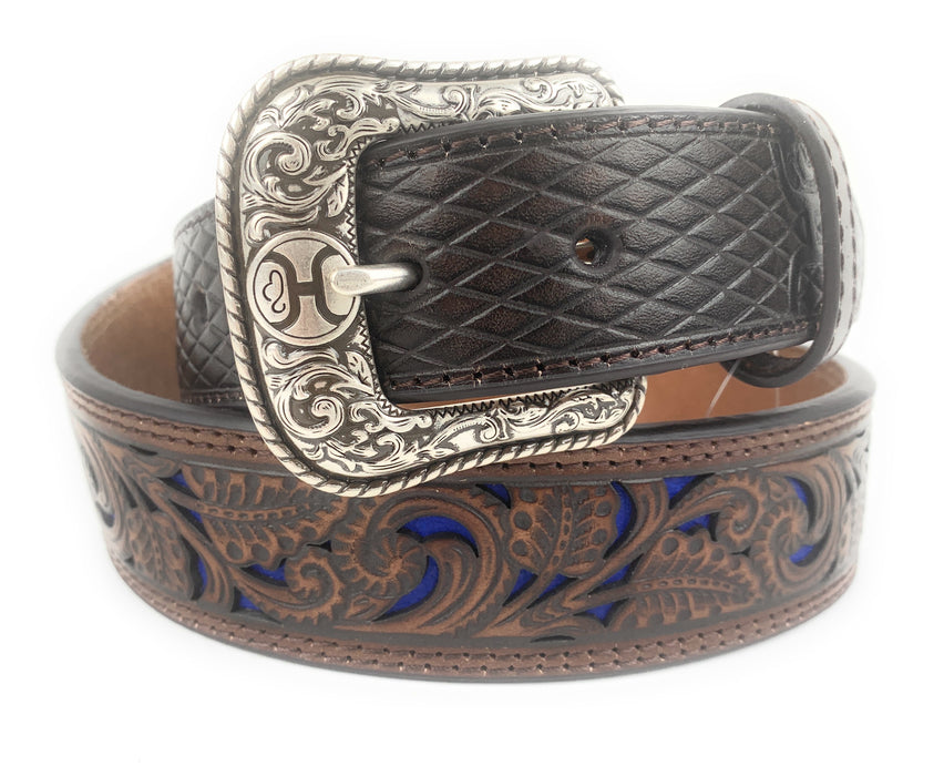HOOey Men's Brown Tooled With Blue Inlay Western Belt 1914BE8