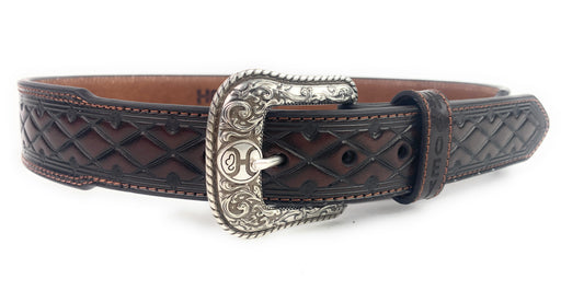 HOOey Men's Mahongany Wide Taper Diamond Embossed Western Belt 1787BE9