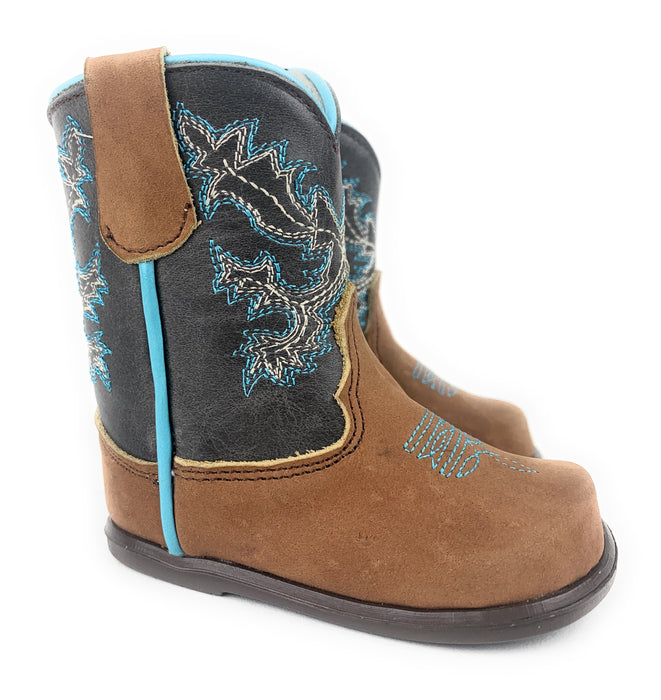 Infant/Toddler Brown & Baby Blue Round Toe Western Boots