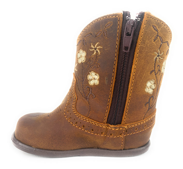 Infant/Toddler Brown Floral Round Toe Western Boots