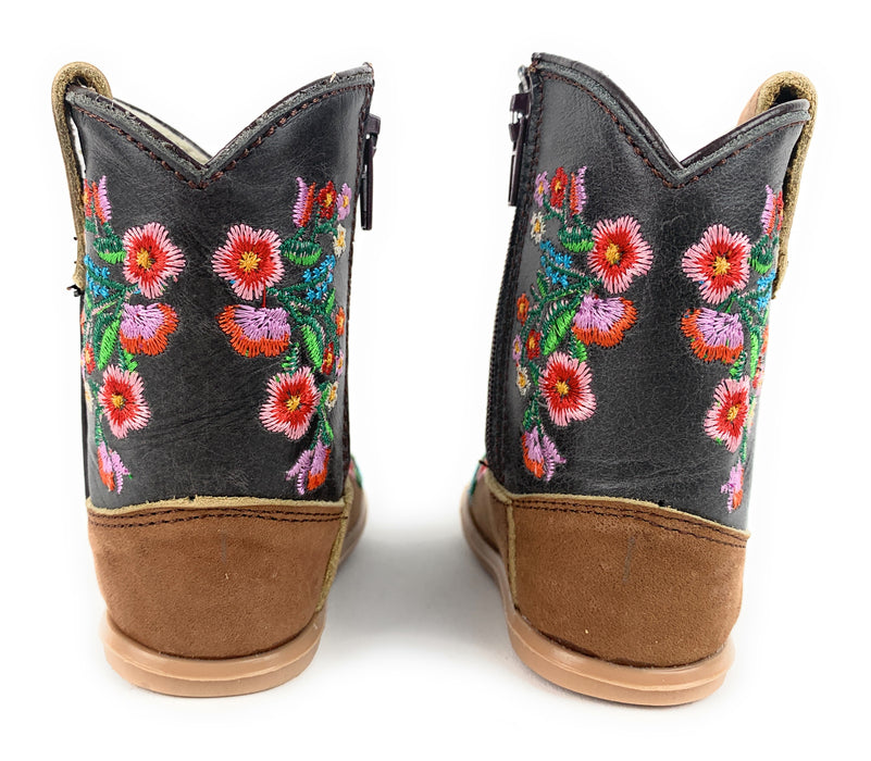 Infant/Toddler Brown Round Toe Western Boots With Spiraled Rose's