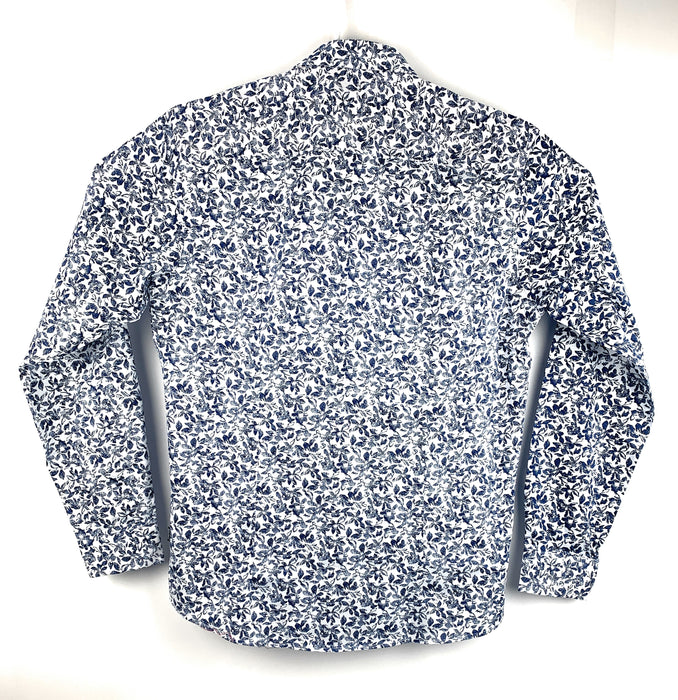 Barabas Mens Designer Button Front Shirt White Floral Long Sleeve