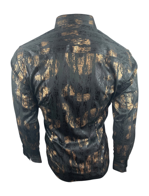 Barabas Men's Black & Gold Long Sleeve Casual Button Up Shirt