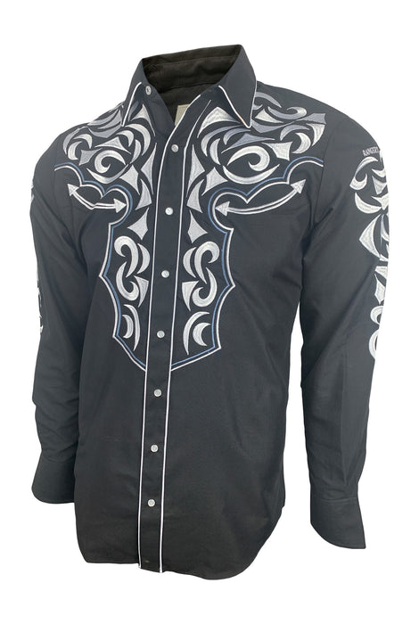 Ranger's Mens Western Cowboy Shirt Black W/ White Embroidery Long Sleeve