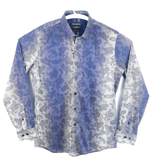 Barabas Mens Royal Blue Paisley Print Long Sleeve Casual Shirt