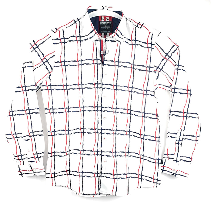 Barabas Mens Designer Button Front Plaid White Long Sleeve Shirt