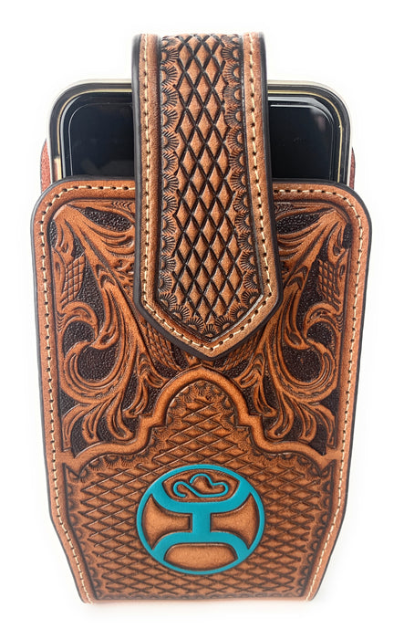 Hooey Cell Phone Case Tooled Embossed Leather Turqoise Hooey Man - 2041665C8