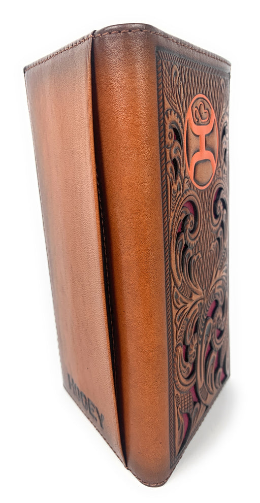 Hooey Western Mens Leather Wallet Floral Inlay Tooled Logo Brown 1910137W2