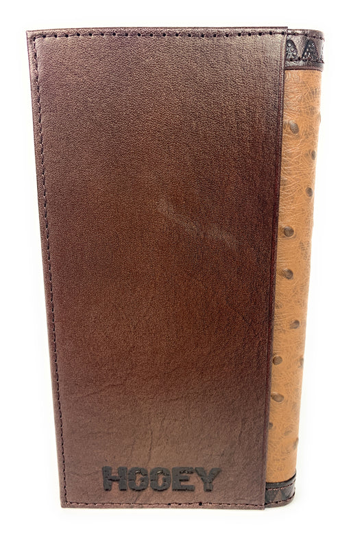 Hooey Mens Western Rodeo Wallet Leather Ostrich Embossed Logo Tan- 2041566W10