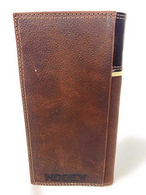 HOOey Dark Brown Leather Rodeo Wallet with Dusty Orange Hooey Logo - 2041566W7