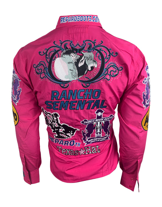 Camisa Rancho Semental Estilo Reparo Color Hot Pink En Manga Larga