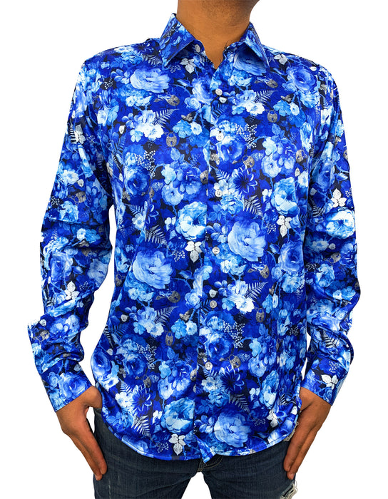 Mens Casual Printed Button Down Casual Long Sleeve Dress Shirts