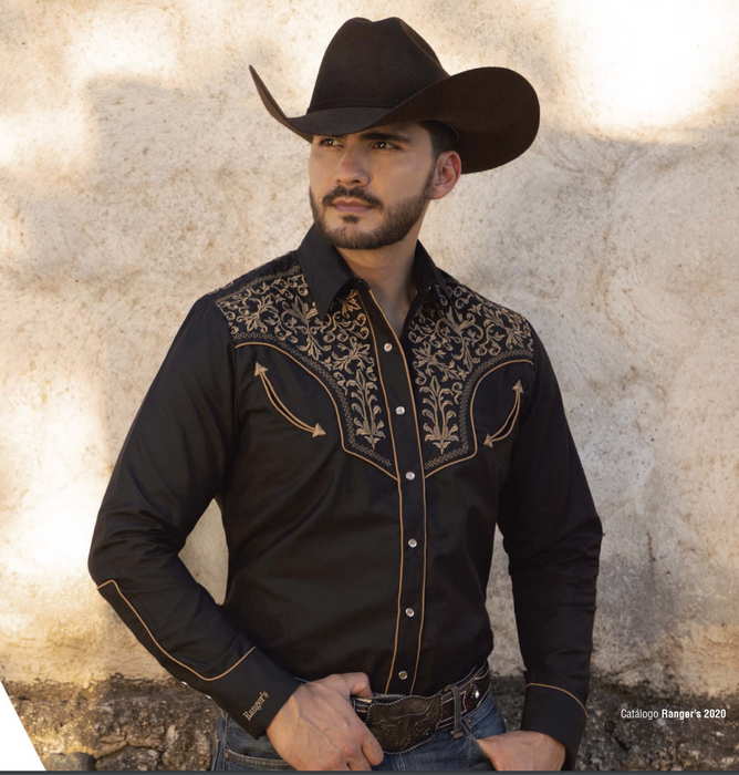 Ranger's Mens Western Cowboy Shirt Black W/ Gold Embroidery Long Sleeve - 130CA01