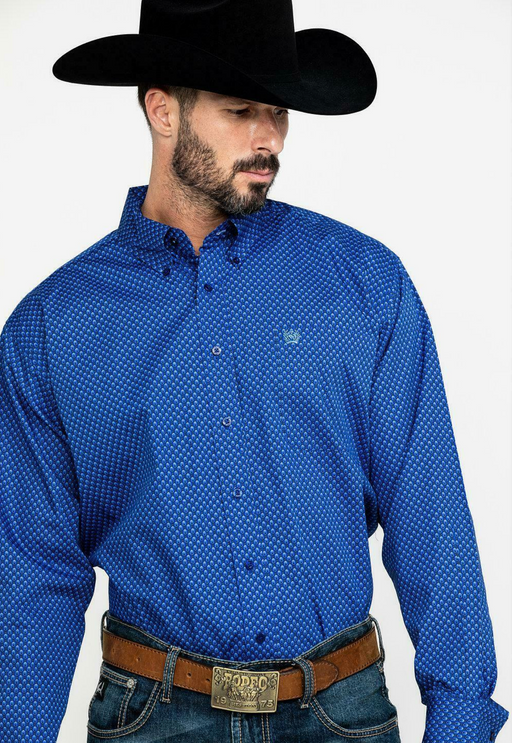 Cinch Men's Royal Blue Diamond Geo Print Long Sleeve Western Shirt Royal Blue