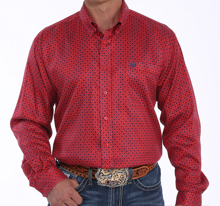 Cinch Men's Red And Navy Geometric Print Button Down Western Shirt