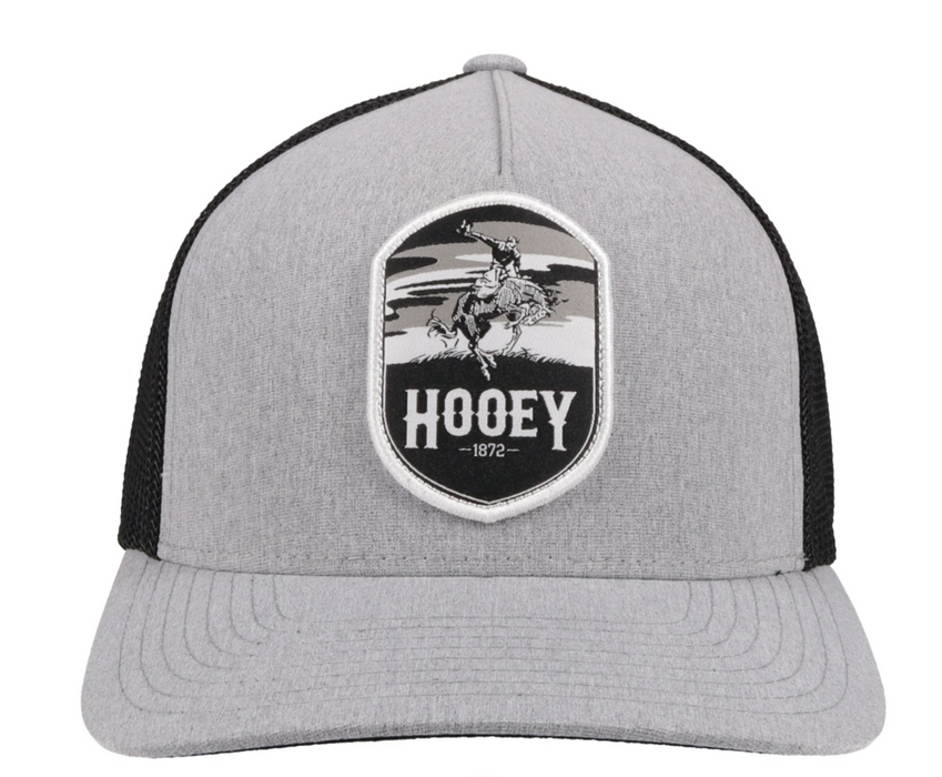 """Cheyenne"" Hooey Grey/Black 5-Panel Trucker Hat with Patch - 2144GYBK"