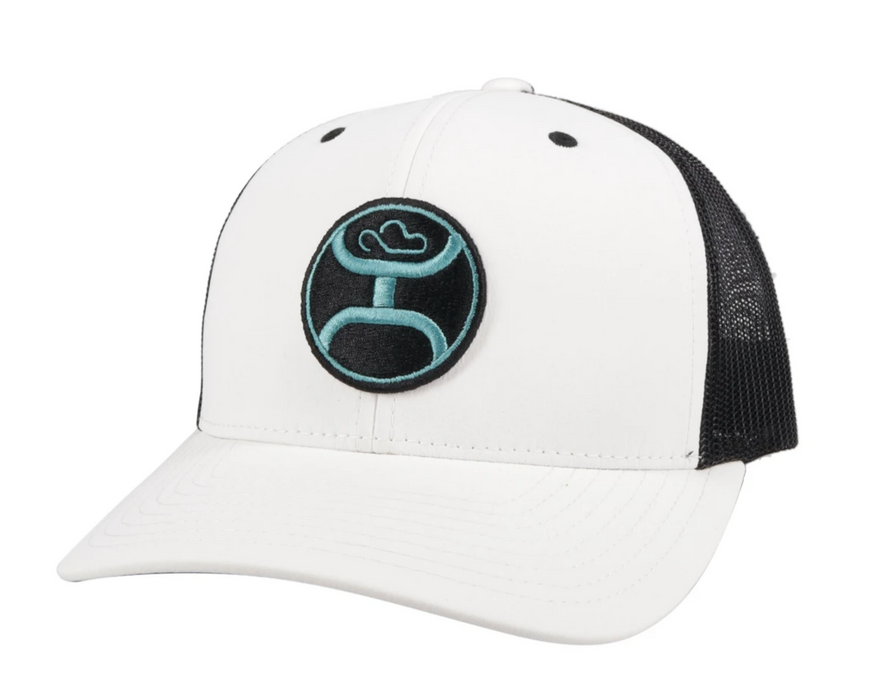 "Hooey ""Primo"" White/Black Snapback Trucker Hat - 2146T-WHBK Blue & Black Patch"