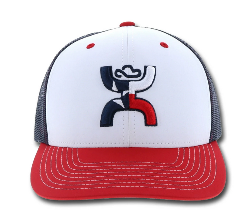 "Hooey Youth ""Texican"" 6-Panel Trucker Hat Red/White/Blue  1909T-WHBL-Y"