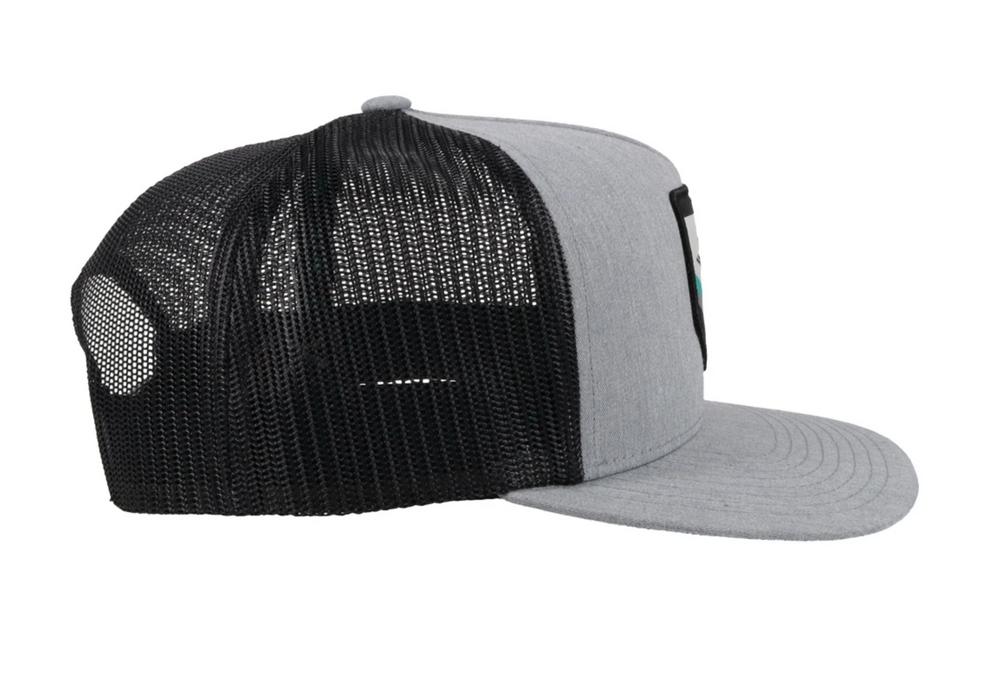 "Hooey ""TIBBS"" ROUGHY Black/Grey Snapback Trucker Hat With Patch- 4038T-GYBK"