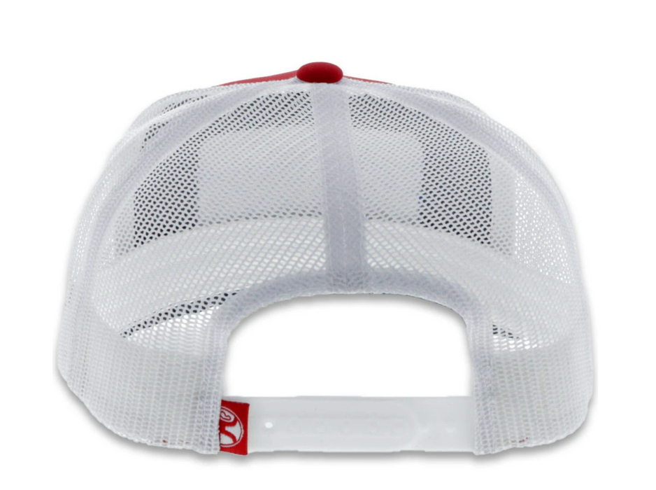 "Hooey Youth ""Cactus Ropes"" 5-Panel Trucker Hat Red/White with Rectangle Patch - CR055-Y"