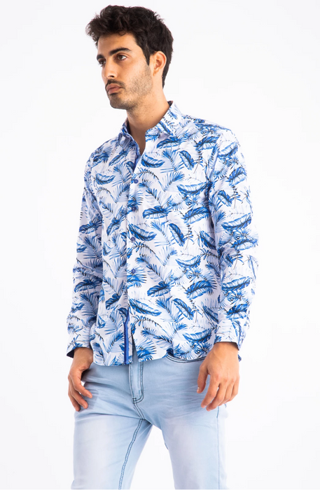 Barabas Mens Blue Feather Print Long Sleeve Shirt