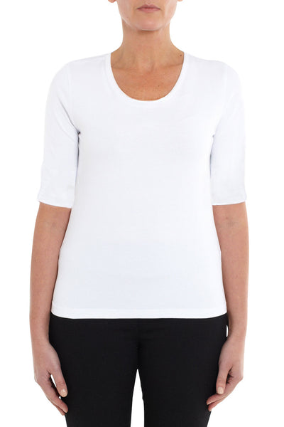 White Elbow Sleeve Scoop Neck Top