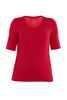Elbow Sleeve Scoop Neck Top Rouge