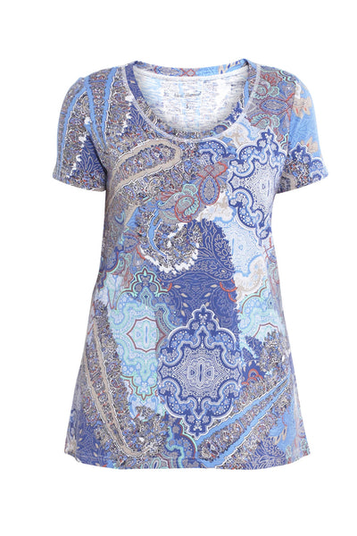 Abstract Paisley Scoop Neck Tee
