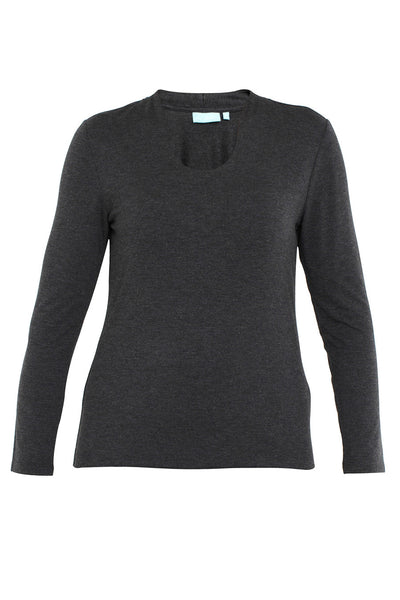 Charcoal Marle Long Sleeve Keyhole Neck Tee
