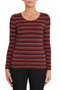 Toffee Stripe Long Sleeve Scoop Neck Top