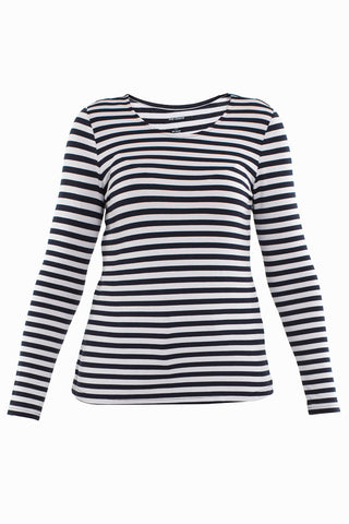 Ink/Silver Stripe Long Sleeve Scoop Neck Top