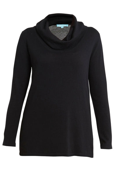 Black Cotton Cashmere Roll Neck Knit