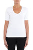 White Short Sleeve V-Neck Top