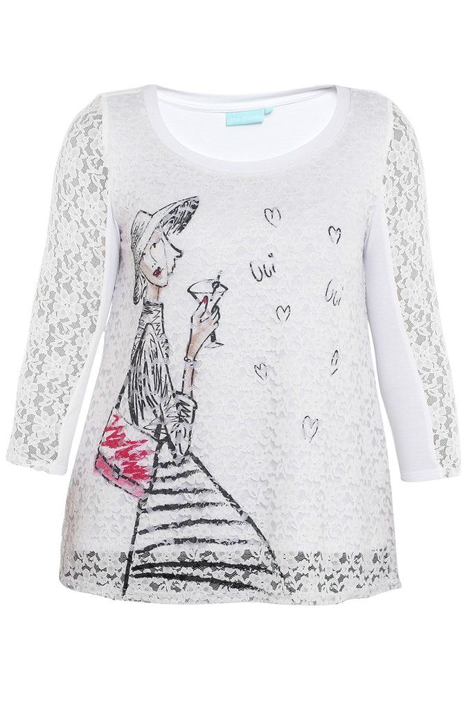 Lace Lady Top Paris Print