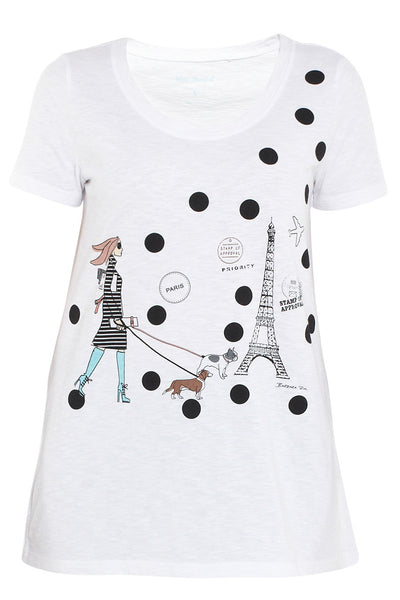 White French Lady Scoop Neck Tee